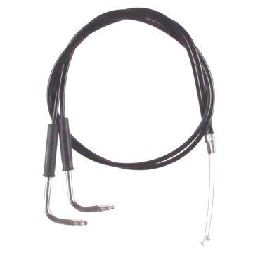 """Black Vinyl Coated +2"""" Throttle Cable Set for 2006 & Newer Harley-Davidson Dyna Street Bob models"""