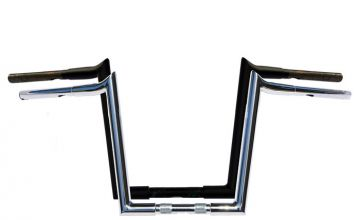 Wild 1 Hooked WO580SB Chubby 10 inch Satin Black Ape Hangers for Harley Davidson Motorcycles
