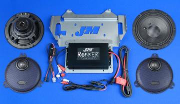 J&M Audio Rokker Extreme 2 Speaker and 350 Watt Amplifier Kit for 2014 and Newer Harley-Davidson Street Glide models