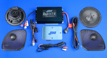 J&M Audio Rokker Extreme 2 Speaker and 350 Watt Amplifier Kit for 2015 and Newer Harley-Davidson Road Glide models